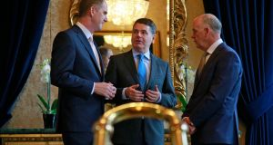 Minister for Finance Paschal Donohoe flanked by  PwC head of tax Joe Tynan and Irish Times managing director Liam Kavanagh at The Irish Times/PwC Tax Summit. Photograph:   Nick Bradshaw