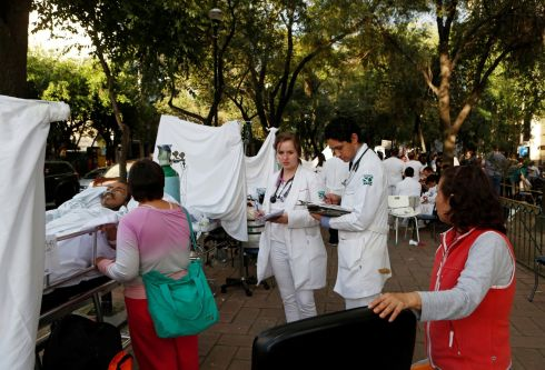 People are being treated for injuries after an earthquake hit Mexico City, Mexico September 19th.  Photograph: Ginnette Riquelme / Reuters