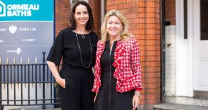 Chief financial officer of credit and debit card payments company Square Sarah Friar  with  Alexander Mann Solutions chief executive Rosaleen Blair at the Ladies who Launch event in Belfast