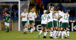 Republic of Ireland women celebrate a goal during their victory over Northern Ireland in Lurgan. Photograph: William Cherry/Inpho