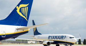 Ryanair aircraft on the tarmac of Charleroi Airport in Belgium. Photograph: Stephanie Lecocq/EPA