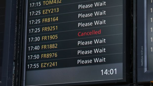A cancelled Ryanair flight on a departure board at Stansted Airport. Photograph: Neil HalL/EPA