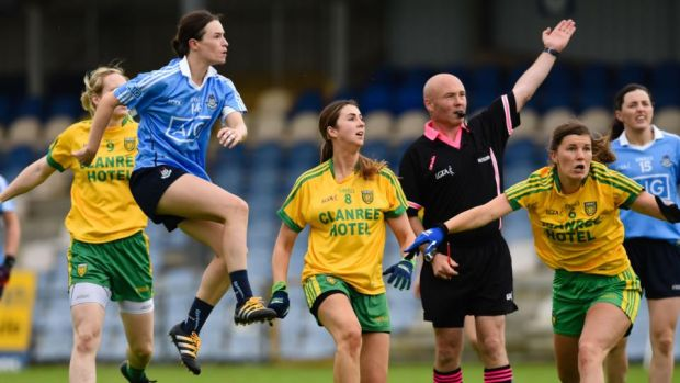 Dublin's Sinéad Aherne in action in the All-Ireland Football Championship quarter-final last year. Photograph: Tom Beary/Inpho