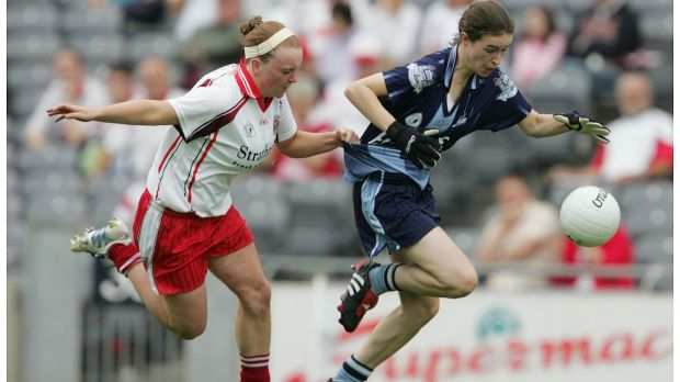 Dublin's Sinéad Aherne in action against Tyrone player Eimear Teague in the All-Ireland Ladies Gaelic Football quater-final in 2005