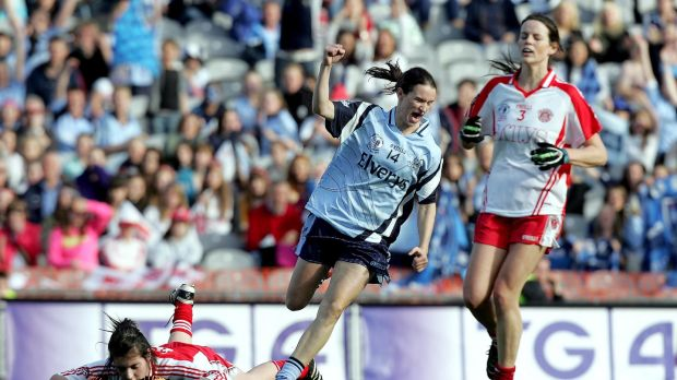 Dublin's Sinéad Aherne celebrates her goal in the 2010 All-Ireland Ladies Senior Football Championship Final. Aherne scored 2-7 that day to ensure a victory over Tyrone. Ryan Byrne/Inpho