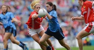Cork's Brid Stack and Dublin's Sinéad Aherne  in the  2014 All-Ireland Ladies Senior Football Championship Final. Dublin were 10 points up with 16 minutes to go but Cork came back to win it.  Photograph: Alan Betson