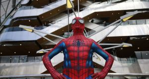 Spider-man, whose alter ego on this occasion is Jamie Kenny from Drogheda, attends Dublin Comic Con 2017, held in the Convention Centre Dublin. Photograph: Nick Bradshaw