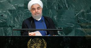 "Iranian president Hassan Rouhani: said it would be a pity if ""rogue newcomers"" jeopardised the nuclear deal. Photograph: Reuters/Eduardo Munoz"