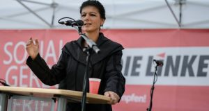 Parliamentary group leader of left-wing party Die Linke and top candidate for the upcoming general elections, Sahra Wagenknecht, speaks in Berlin district of Lichtenberg. Photograph: Clemens Bilan