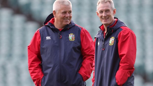 Lions head coach Warren Gatland and backs coach Rob Howley. Photograph: Dan Sheridan/Inpho