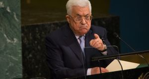 "President Mahmoud Abbas: ""The United Nations bears a legal, political, moral and humanitarian obligation to end this occupation and enable the Palestinian people to live in freedom and prosperity in their independent state of Palestine."" Photograph: Kevin Hagen/Getty"