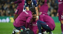 Manchester City's German midfielder Ilkay Gundogan receives treatment after picking up an injury at The Hawthorns. Photograph: Getty Images