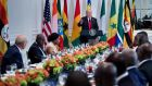 US President Donald Trump speaks before a luncheon with US and African leaders at the Palace Hotel during the 72nd United Nations General Assembly on September 20th, 2017 in New York. Photograph: Brendan Smialowski/AFP/Getty Images