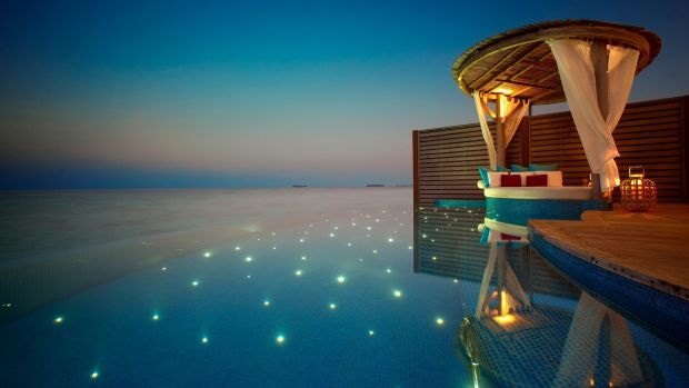 A poolside villa in the Maldives