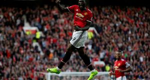 Record revenues: Manchester United's Romelu Lukaku celebrates scoring the club's third club against Everton at Old Trafford last Sunday. Photograph: Andrew Yates/Reuters.