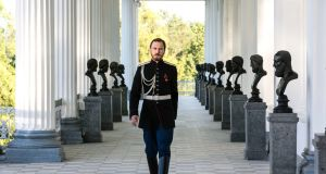 Lars Eidinger as the last Russian tsar, Nicholas II, during the filming of Russian director Alexei Uchitel's film Matilda