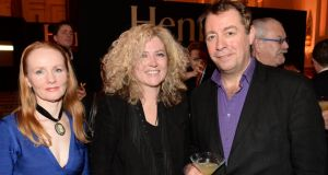 Martina Devlin, Audrey Brennan and  Philip Judge, at the 44th Annual Hennessy Literary Awards in 2015. Photograph:  Dara Mac Donaill