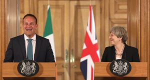Taoiseach Leo Varadkar and Britain's prime minister Theresa May shaking hands at a joint press conference after talks at 10 Downing Street in London in June. Photograph: Photograph: Photograph: Philip Toscano/WPA Pool/Getty Images
