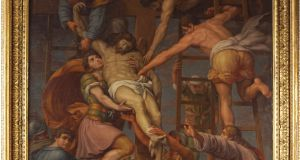 Descent from the Cross, an  18th century oil-on-canvas  by a 'Follower of Pompeo Batoni goes under the hammer at  Sheppard's in Laois.