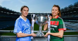 Dublin's Sinead Aherne and Mayo's Sarah Tierney. Photograph:  Ramsey Cardy/Sportsfile
