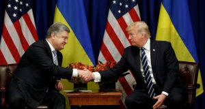 Ukraine's president Petro Poroshenko meets US president Donald Trump at the UN General Assembly in New York on Thursday. Photograph: Kevin Lamarque/Reuters
