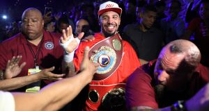 Andre Ward celebrates after his light heavyweight championship bout against Sergey Kovalev in Las Vegas  in  June. The 33-year-old has announced his retirement from boxing. Photograph:  Christian Petersen/Getty Images