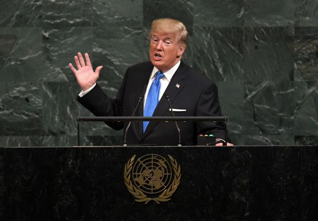 Nuclear gambit: Donald Trump addresses the UN General Assembly. Photograph: Timothy A Clary/AFP