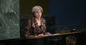 "Theresa May: expected to signal a concession on the ""divorce bill"" promising that UK contributions to the EU budget will continue until 2020 at least. Photograph: Caitlin Ochs/Bloomberg"
