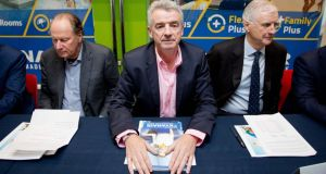 Michael O'Leary with chairman David Bonderman and Kyran McLaughlin at Ryanair's agm. Photograph: Tom Honan