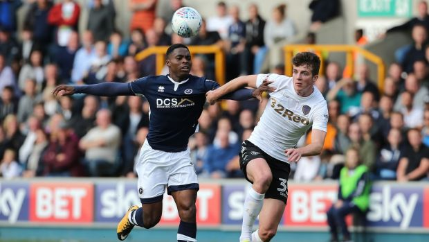 Conor Shaughnessy in action for Leeds United against Millwall's Fred Onyedinma during the Sky Bet Championship match at The Den. Photograph: Mark Kerton/PA Wire