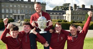 Ballybunion's hero Brian Slattery and team-mates (from left) Philip Byrne, Ronan Cross, Frank Geary and Adrian Walsh after their victory in the final of the AIG Junior Cup at Carton House.  hotograph:  Pat Cashman