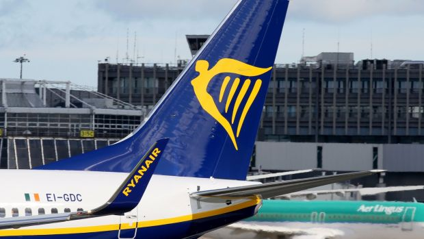 Ryanair plane parked on the tarmac at Dublin Airport. Photograph: Paul Faith/AFP/Getty Images