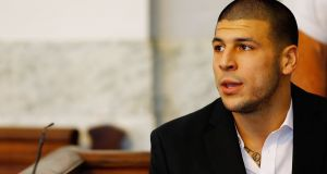 Aaron Hernandez  during a  courtroom   hearing in  August, 2013. Photograph:   Jared Wickerham/Getty Images
