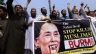 A protest in Peshawar in Pakistan against Myanmar democracy leader Aung San Suu Kyi over violence against the Rohingya. Photograph: Bilawal Arbab/EPA