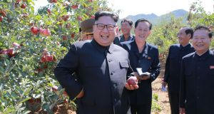 An undated picture released by North Korea's official Korean Central News Agency (KCNA) on September 21st shows North Korean leader Kim Jong-un visiting a fruit farm in South Hwanghae Province, North Korea. Photograph: KCNA/AFP/Getty Images