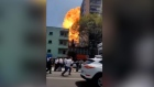 Footage shows explosion and building collapsing in Mexico