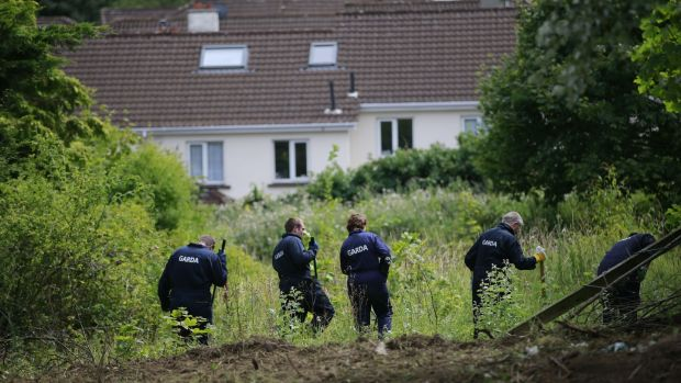 Gardaí searching a site in Chapelizod in connection with Trevor Deely's disappearance. Photograph: Nick Bradshaw