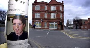 A 'Missing' poster of Trevor Deely near what was then a Bank of Ireland at Baggot Street and Haddington Road in 2000. File photograph: Cyril Byrne