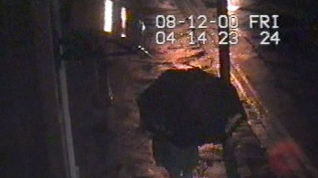 Screen grabs of CCTV footage of Trevor Deely who went missing in December 2000.