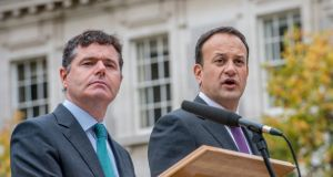 Soundbitten: Minister for Finance Paschal Donohoe and Taoiseach Leo Varadkar. Photograph: Brenda Fitzsimons