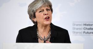 British prime minister Theresa May is outlining the UK's proposals to the EU in an attempt to break a deadlock ahead of the fourth round of negotiations on Monday. Photograph: Getty