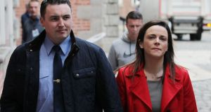 Garda whistleblower Keith Harrison with his partner Marissa Simms at the Disclosures Tribunal in Dublin Castle, which is chaired by Judge Peter Charleton. Photograph:  Stephen Collins/Collins Photo