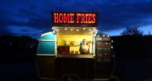 Festival favourite: the Home Fries van serves crispy fried spuds with toppings from a classic patatas bravas to chipotle sauce to the classic chipper curry sauce