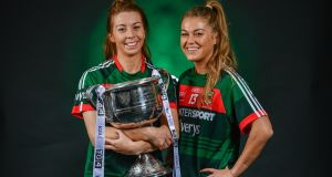 "Sarah Tierney, left, and  team-mate Sarah Rowe. ""We're all from Mayo, we all care about Mayo, and on Sunday we'll try to do it for Mayo.""  Photograph: Sam Barnes/Sportsfile"