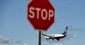 A Ryanair jet  comes in to land   at Dublin airport. Photograph: Clodagh Kilcoyne/Reuters