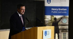 President of the ECB Mario Draghi at Trinity College Dublin. Photograph: Alan Betson