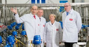 Dairygold chief executive Jim Woulfe (left) shows off the co-op's new €86 million nutritionals campus in Mallow, Co Cork to (from second left) Minister for Agriculture, Food & the Marine, Michael Creed; Tánaiste and Minister for Jobs, Enterprise & Innovation, Frances Fitzgerald,; and European Commissioner for Agriculture, Phil Hogan. Photograph: Daragh Mc Sweeney/Provision
