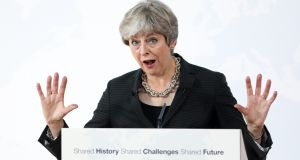 British prime minister Theresa May answers  questions following her speech   in Florence, Italy,  where  she said Britain would operate within EU rules during  a two-year  transition period. Photograph: Chris Ratcliffe/Bloomberg
