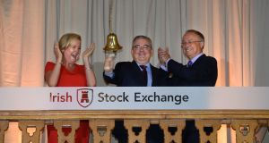 Irish Stock Exchange chief executive Deirdre Somers at the AIB market listing earlier this year  with the bank's chief executive Bernard Byrne and chairman Richard Pym. Photograph: Dara Mac Dónaill