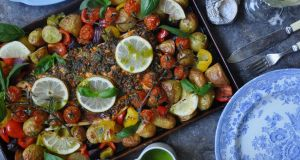 Lilly Higgins: Salmon tray bake with basil dressing
